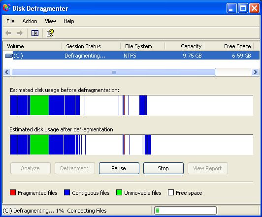 Defragmentation on Windows XP